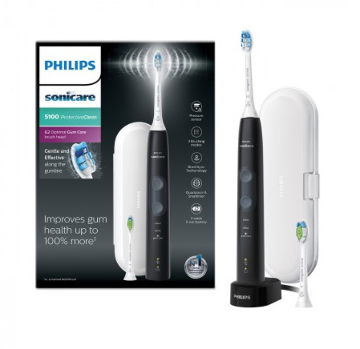 Phillips ProtectiveClean 5100 Sonic Mode 3 Black electric toothbrush HX6850-10