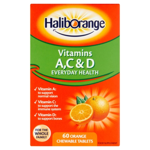 Haliborange Vitamins A, C & D Orange Chewable Tablets 60s