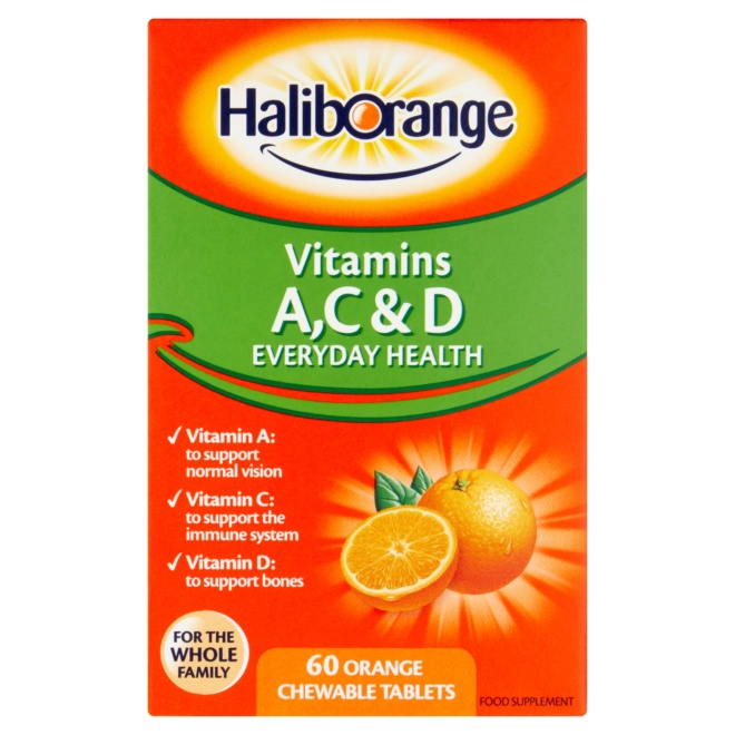5012335109308 T1 Haliborange Vitamins A  C   D 60 Orange Chewable T