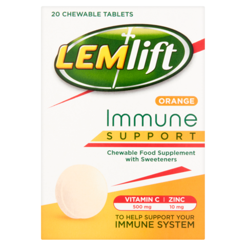 Lemlift Immune Support Orange Chewable Tablets with Vitamin C