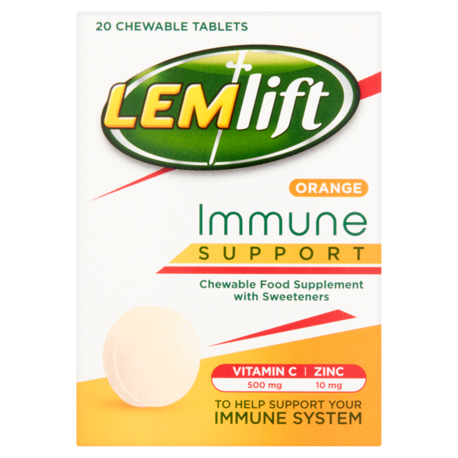 5011417571279 T1 Lemlift Immune Support Orange Chewable Tablets wit