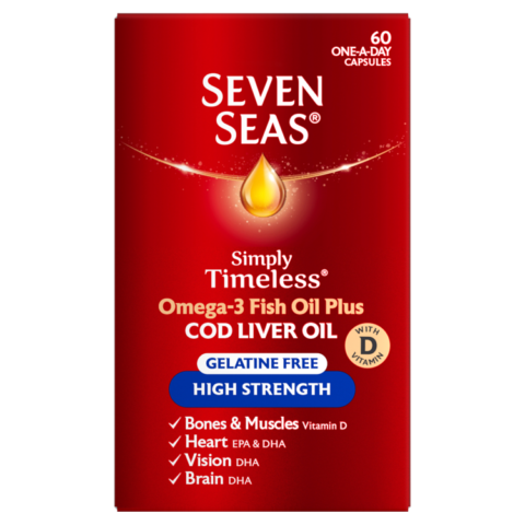 Seven Seas Cod Liver Oil Plus Omega-3 Fish Oil High Strength Gelatine Free